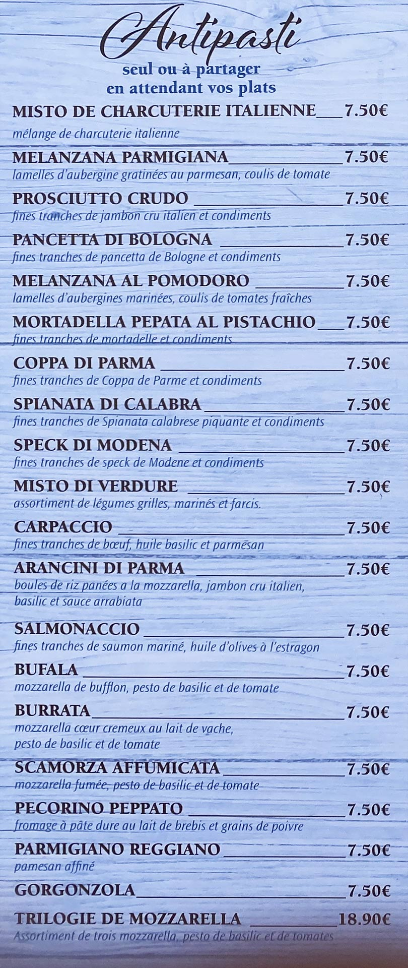 Azzurro | menu Antipasti