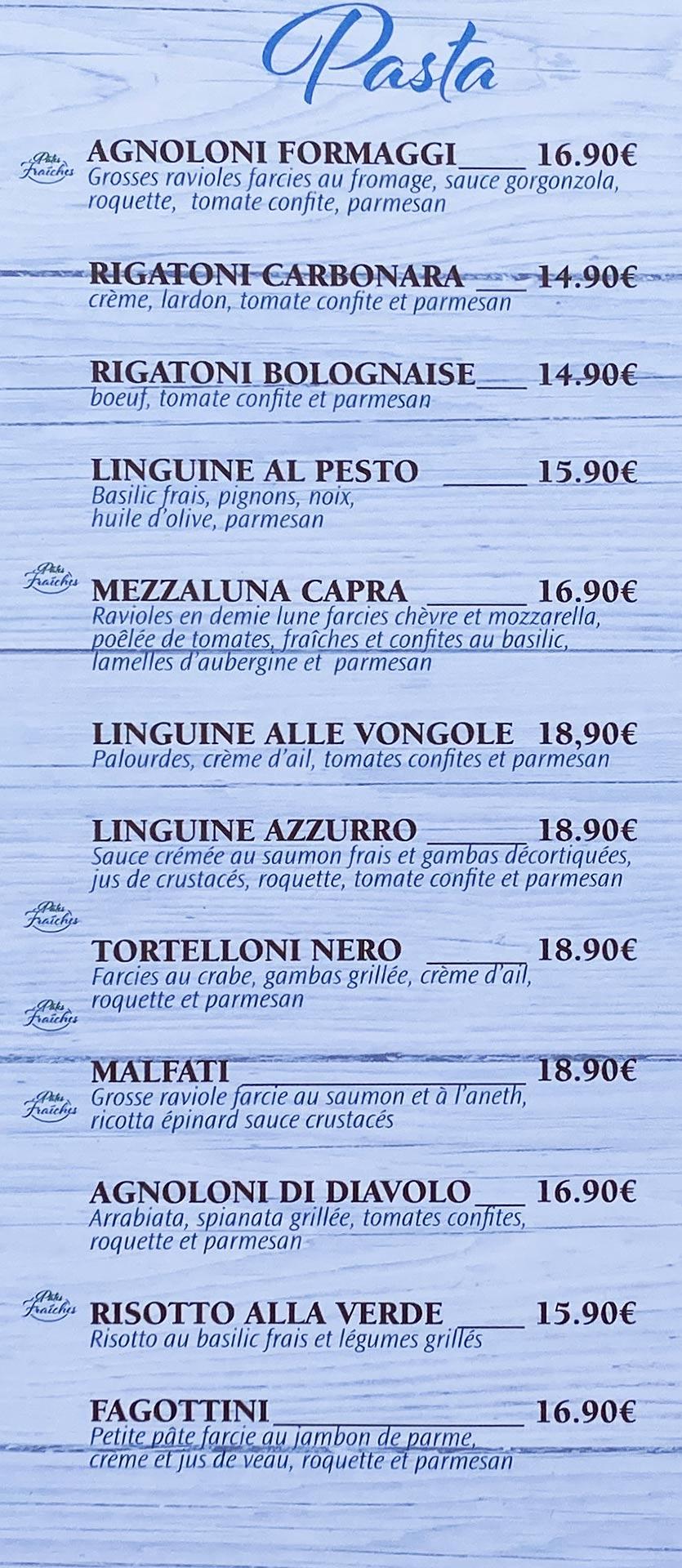Azzurro | menu pasta