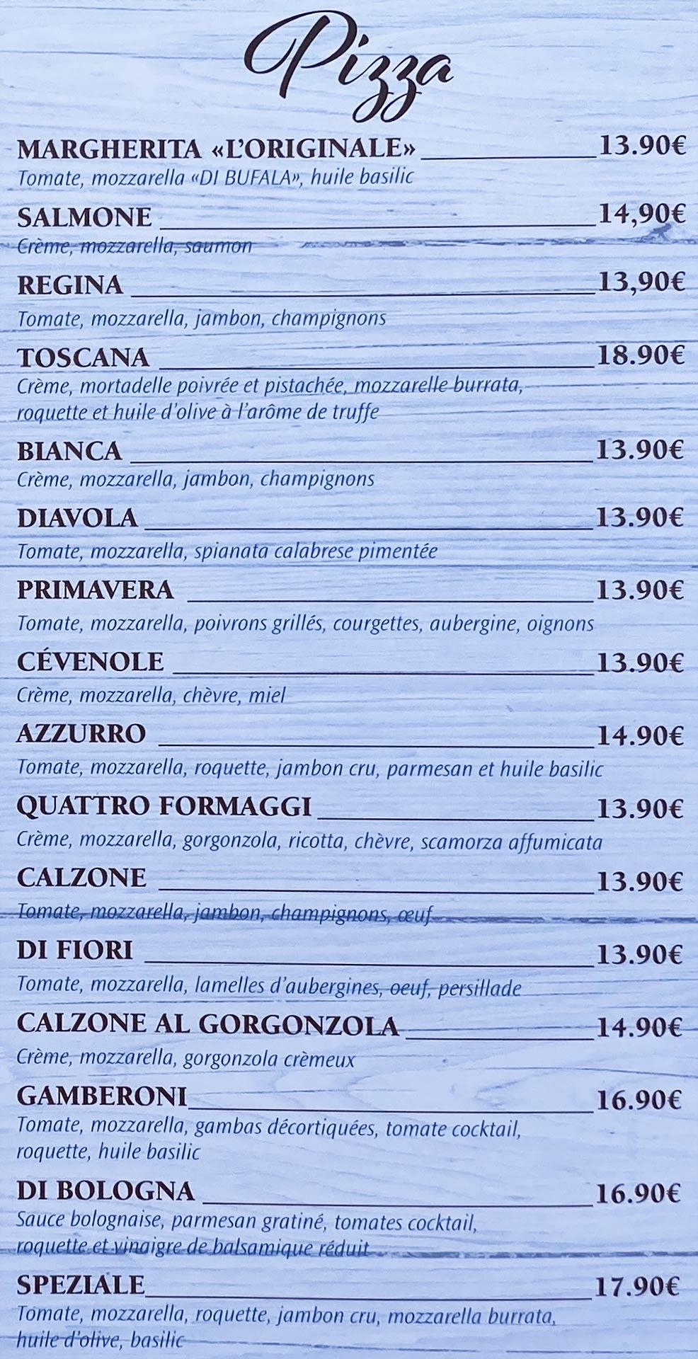 Azzurro | menu pizza