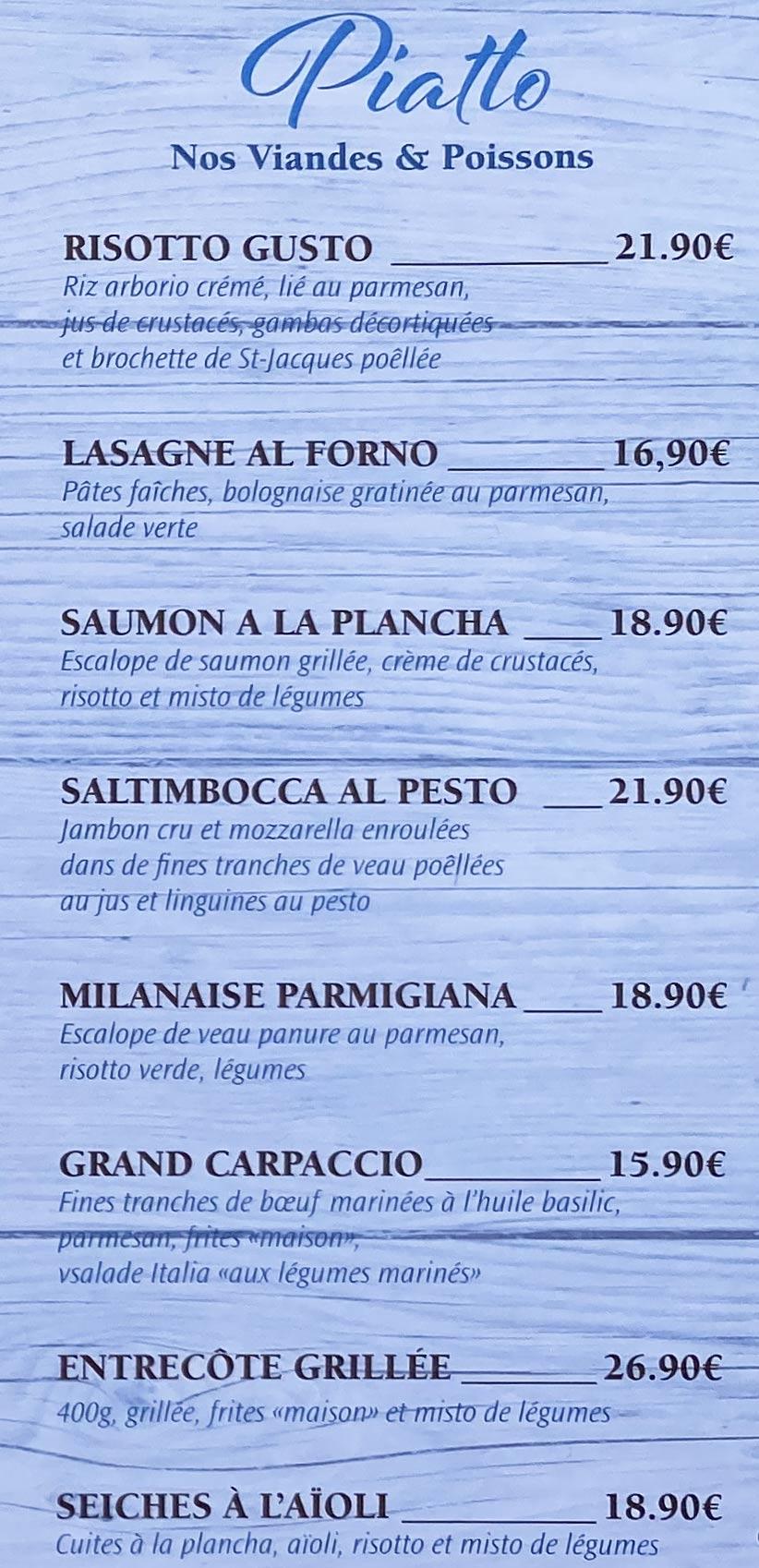 Azzurro | menu Piatti